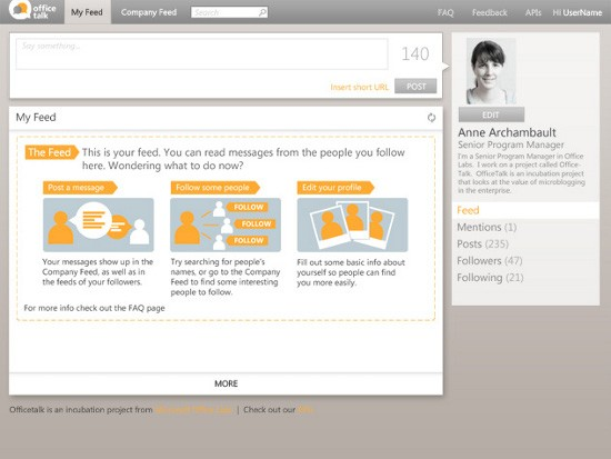 Майкрософт украдкой проверяет сервис микроблогов OfficeTalk