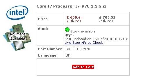 Шестиядерный Intel Core i7-970 уже продается от $1 089