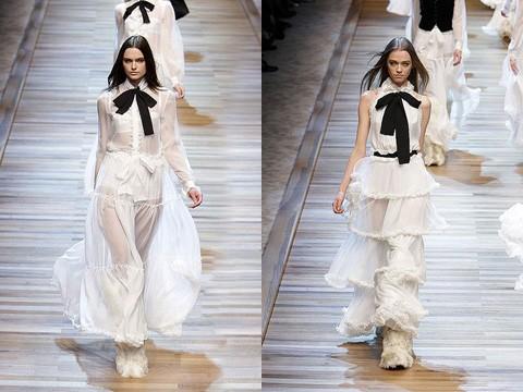 В коллекции можно увидеть вязаные корсеты, платья, юбки, штаны...