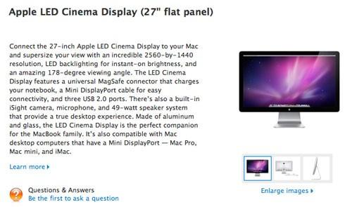 """27"""" дисплей LED Cinema Display от Эпл уже продается"""