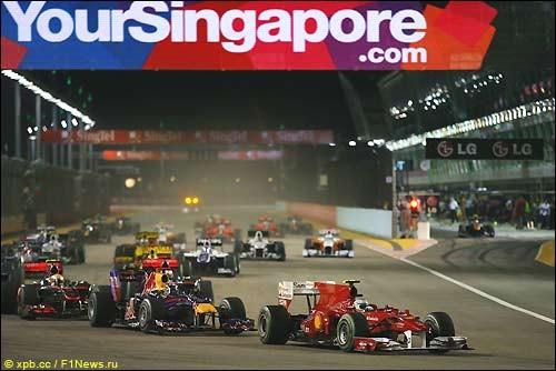 Помост Сингапура: Алонсо - Феттель - Уэббер