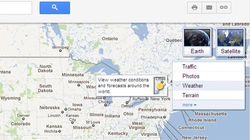 Карты Google сумеют поведать о погоде