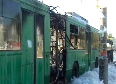 В столице горел троллейбус