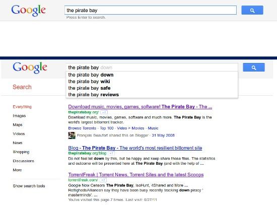 Google цензурирует требования на распространенные торрент-трекеры